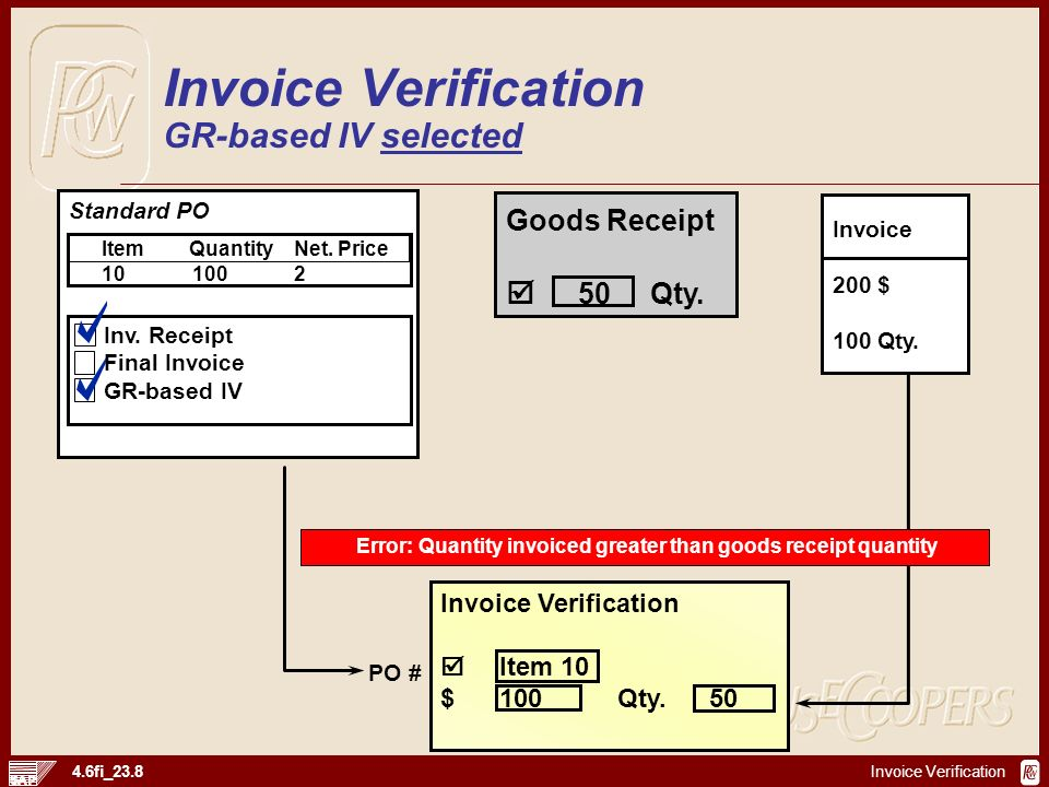 Invoice Verification GR-based IV selected
