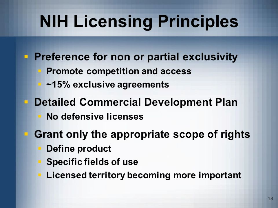 NIH Licensing Principles