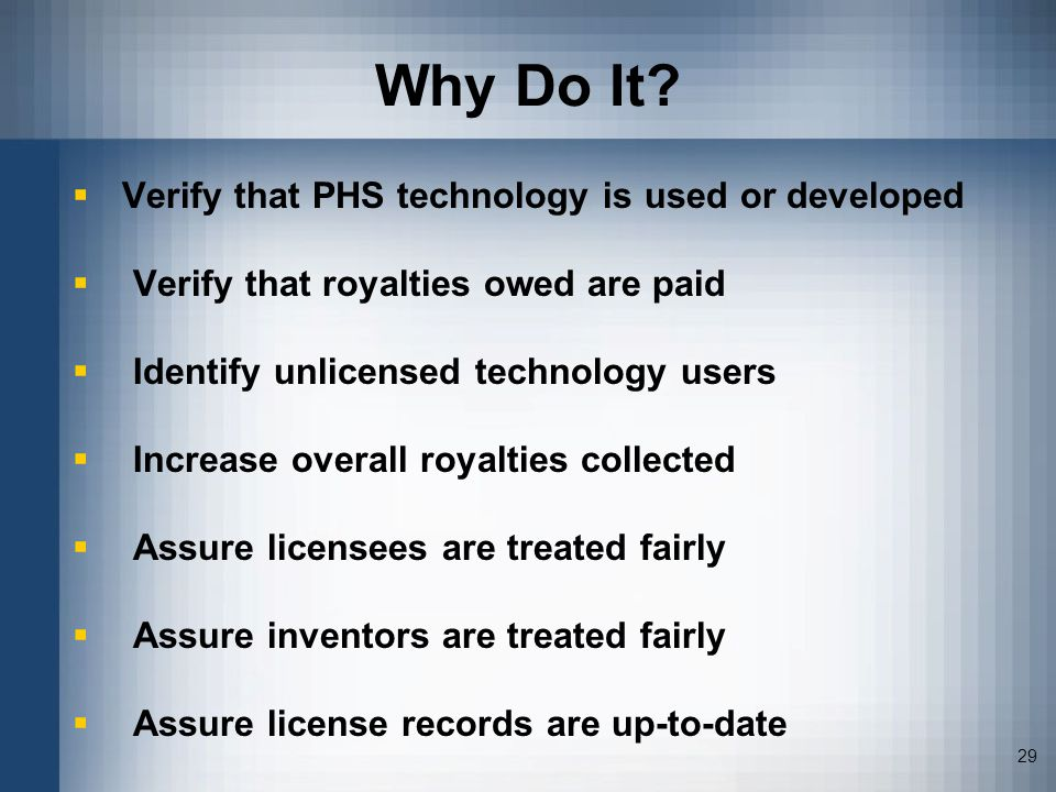 Why Do It Verify that PHS technology is used or developed