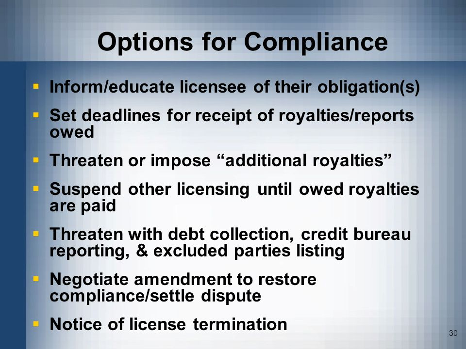 Options for Compliance