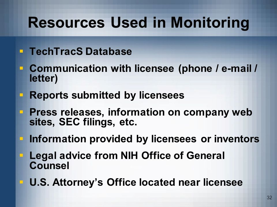 Resources Used in Monitoring