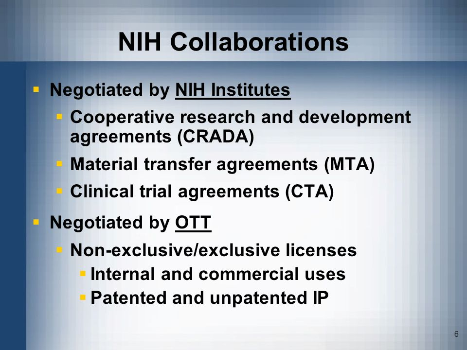 NIH Collaborations Negotiated by NIH Institutes