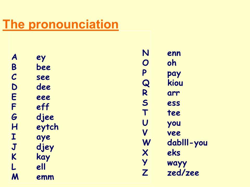The pronounciation A ey N enn B bee O oh C see P pay D dee Q kiou