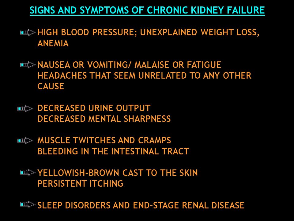 SIGNS AND SYMPTOMS OF CHRONIC KIDNEY FAILURE