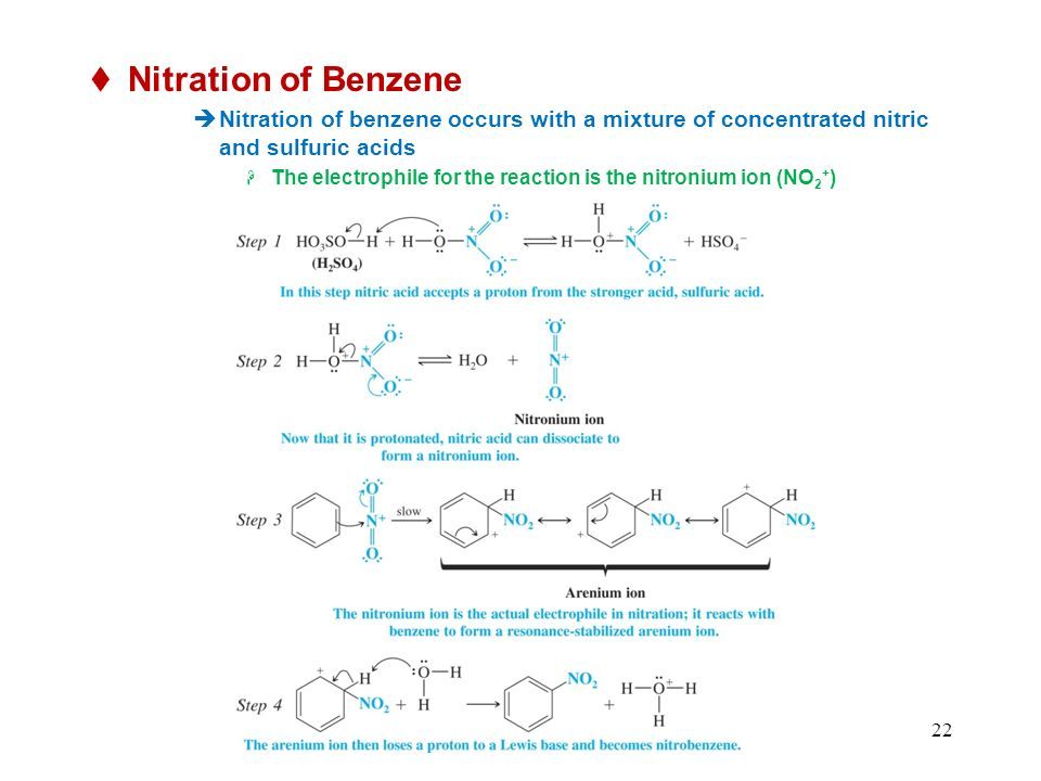 Nitration of Benzene Nitration of benzene occurs with a mixture of concentrated nitric and sulfuric acids.