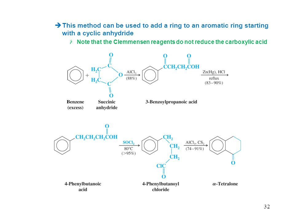 This method can be used to add a ring to an aromatic ring starting with a cyclic anhydride