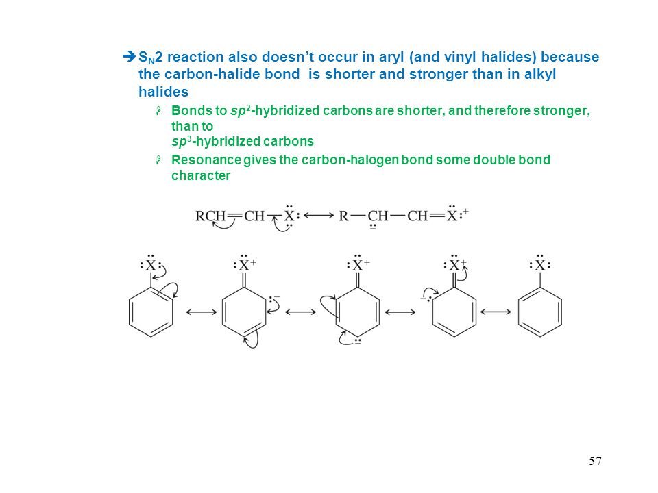 SN2 reaction also doesn't occur in aryl (and vinyl halides) because the carbon-halide bond is shorter and stronger than in alkyl halides