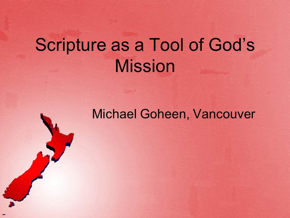 Scripture as a Tool of God's Mission