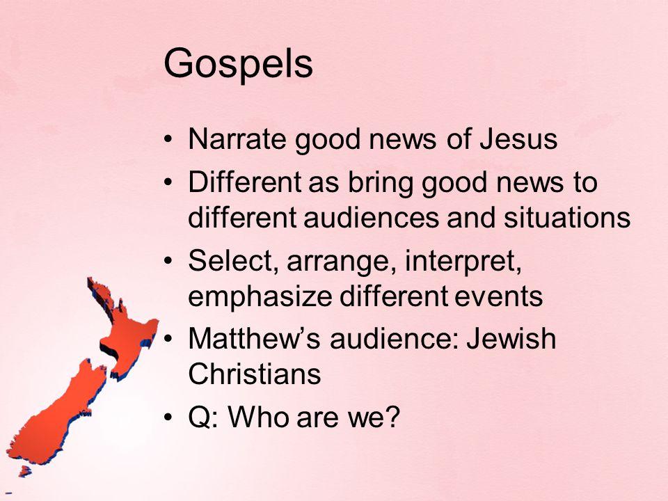 Gospels Narrate good news of Jesus