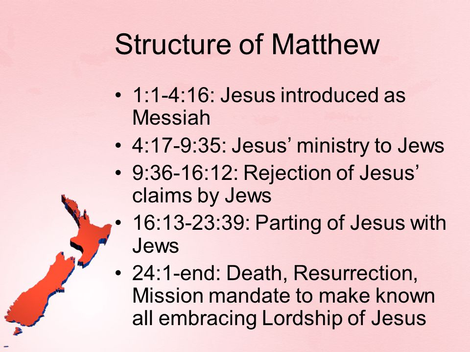 Structure of Matthew 1:1-4:16: Jesus introduced as Messiah