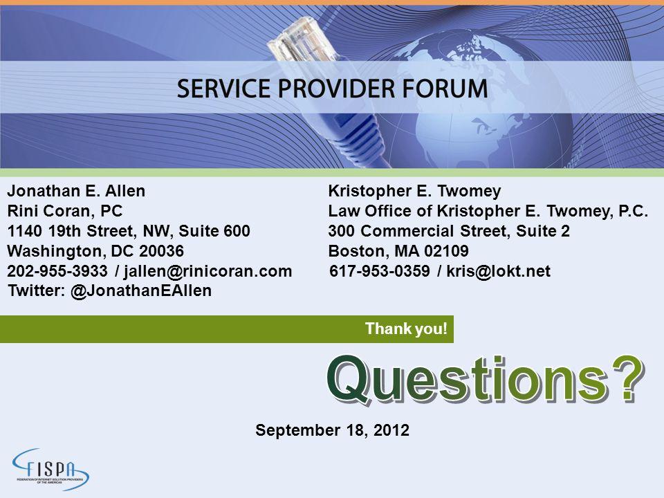 Questions Jonathan E. Allen Kristopher E. Twomey