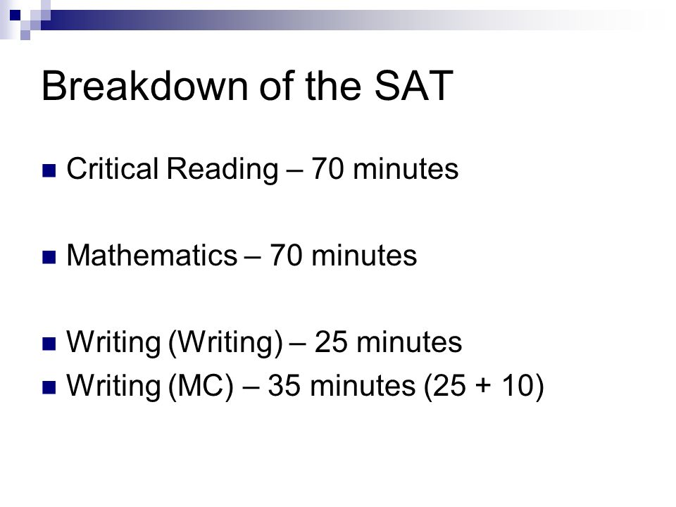Breakdown of the SAT Critical Reading – 70 minutes