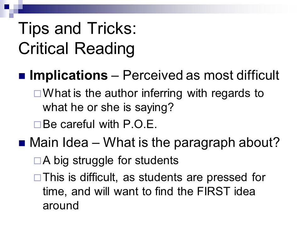 Tips and Tricks: Critical Reading