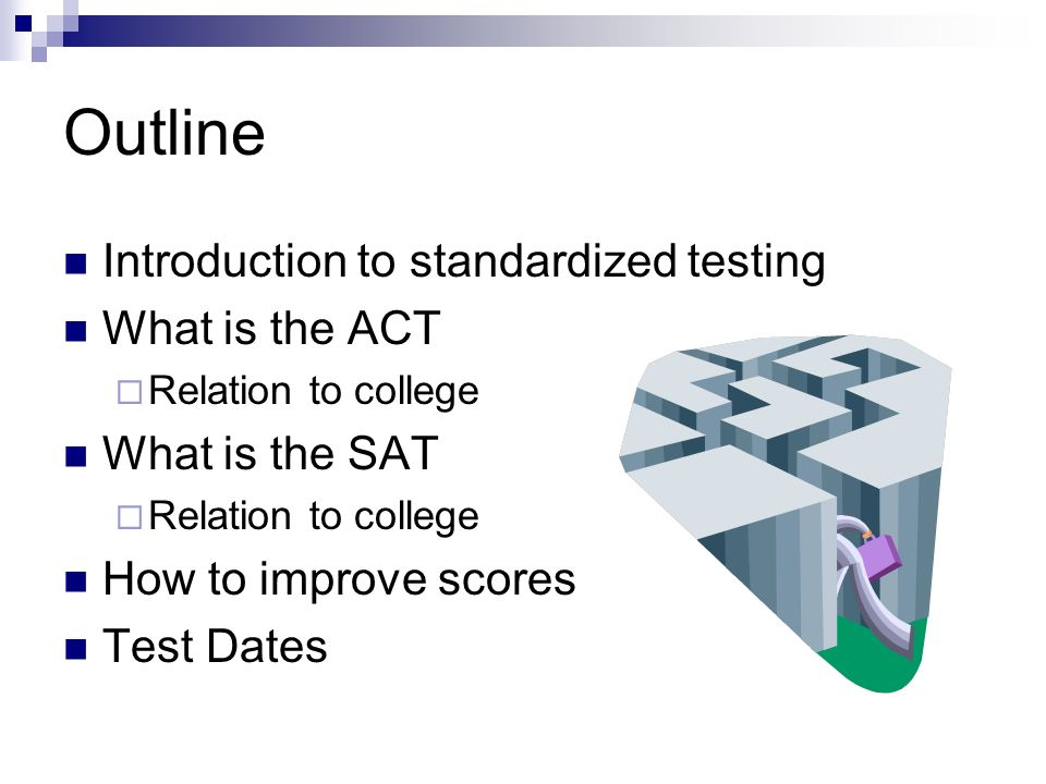 Outline Introduction to standardized testing What is the ACT