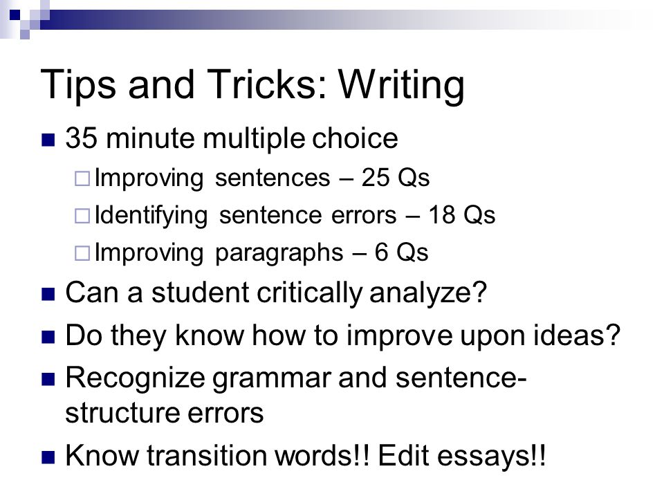 Tips and Tricks: Writing