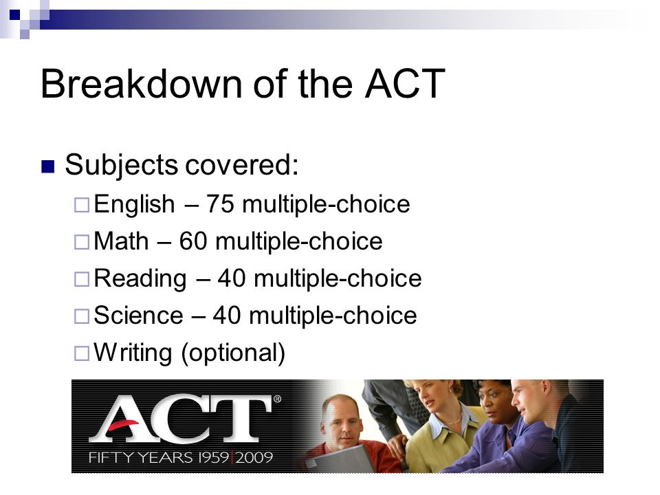 Breakdown of the ACT Subjects covered: English – 75 multiple-choice