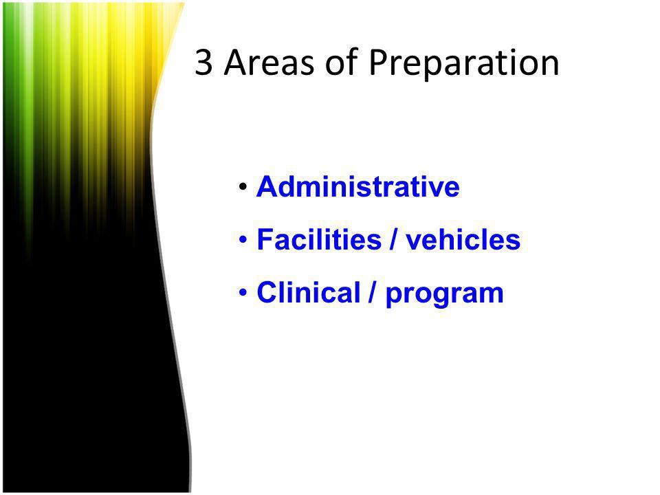 3 Areas of Preparation Administrative Facilities / vehicles