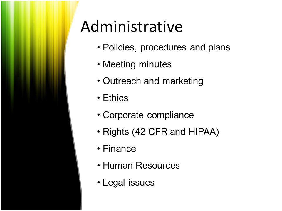Administrative Policies, procedures and plans Meeting minutes