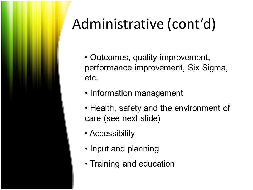 Administrative (cont'd)