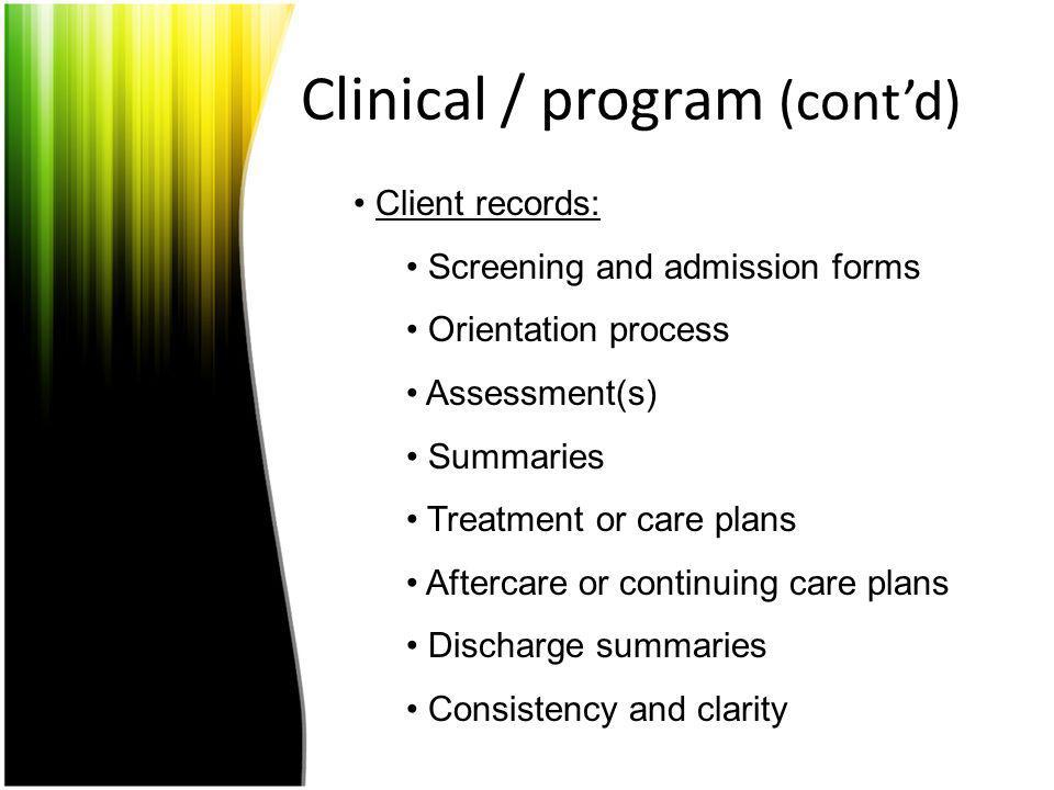 Clinical / program (cont'd)