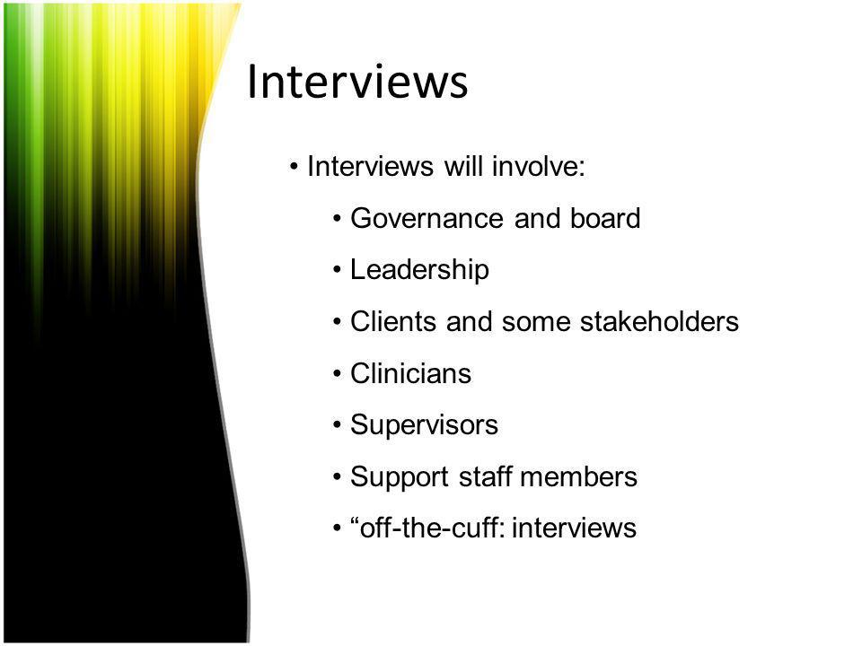 Interviews Interviews will involve: Governance and board Leadership