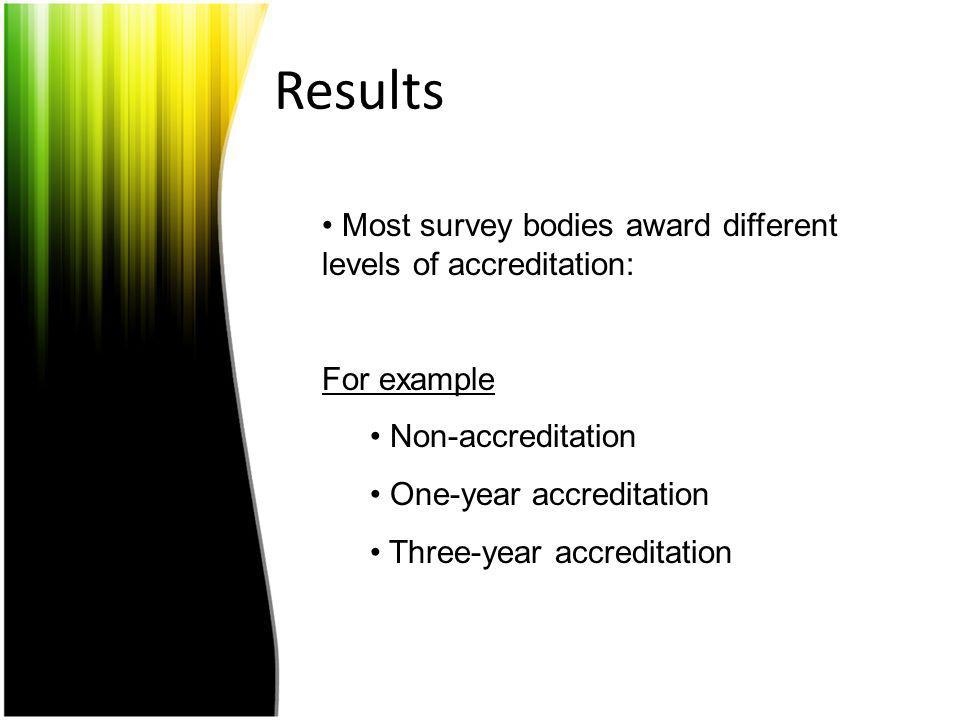 Results Most survey bodies award different levels of accreditation:
