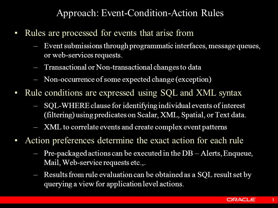 Approach: Event-Condition-Action Rules