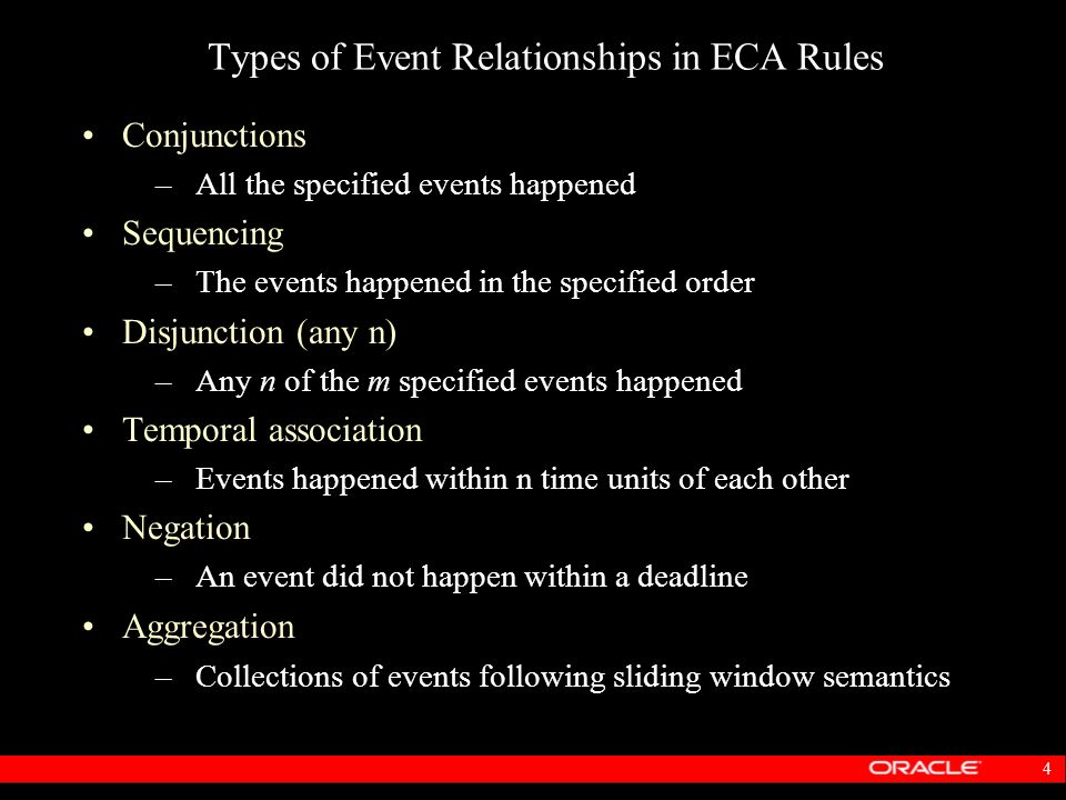 Types of Event Relationships in ECA Rules