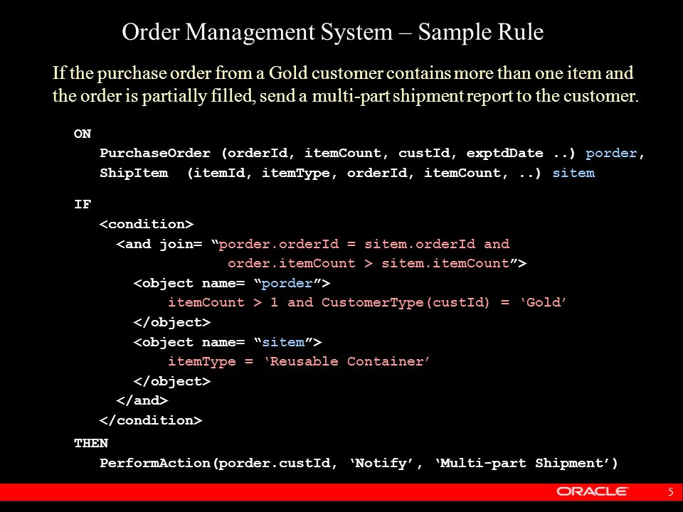 Order Management System – Sample Rule
