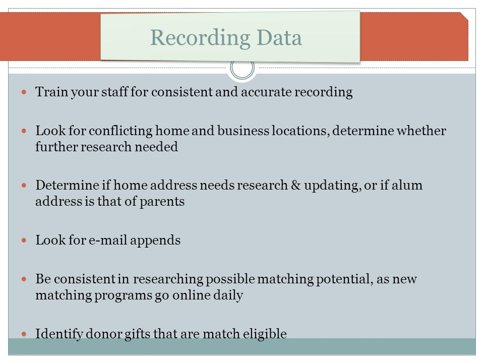 Recording Data Train your staff for consistent and accurate recording