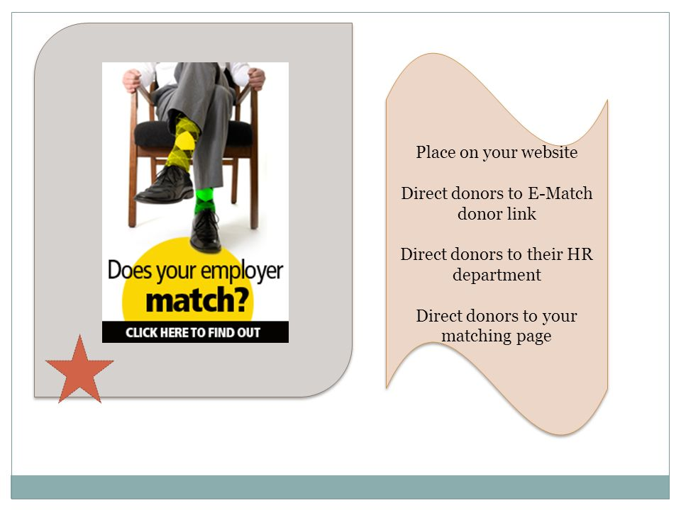Direct donors to E-Match donor link