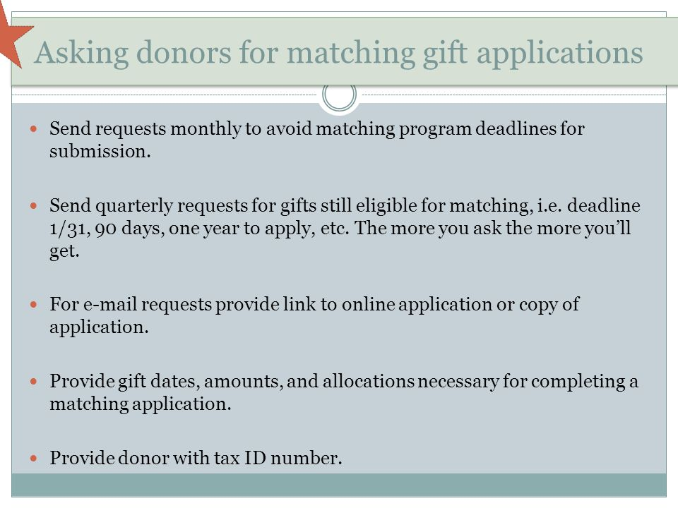 Asking donors for matching gift applications