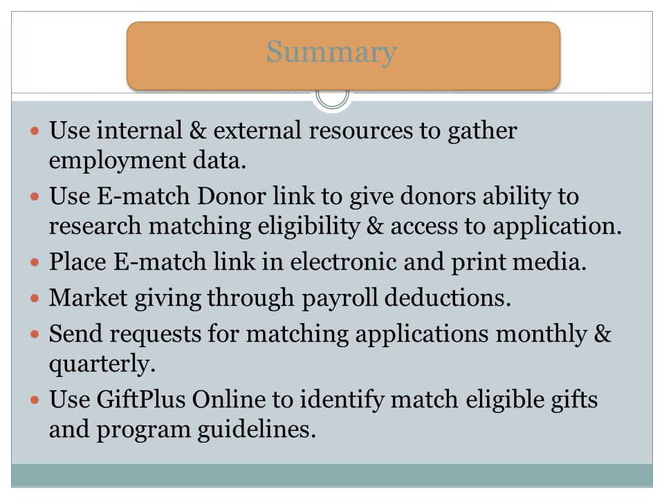 Summary Use internal & external resources to gather employment data.