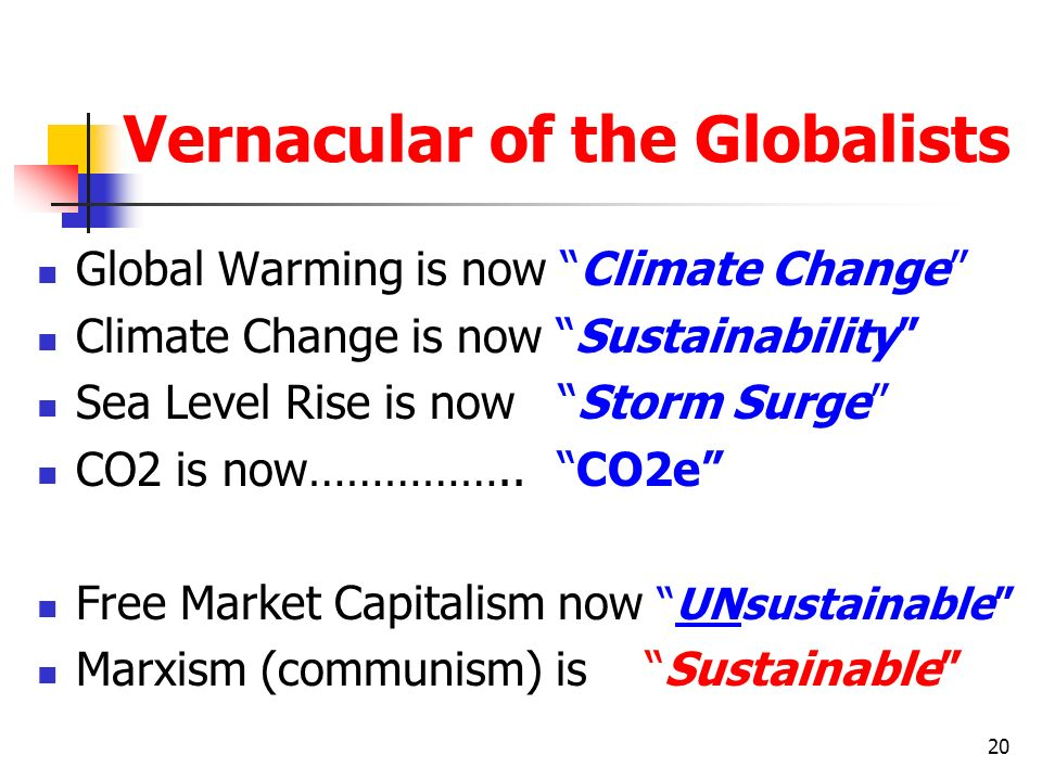 Vernacular of the Globalists