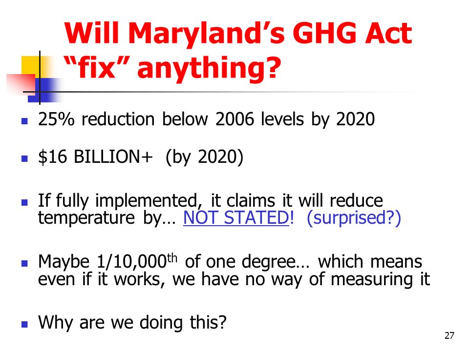 Will Maryland's GHG Act fix anything