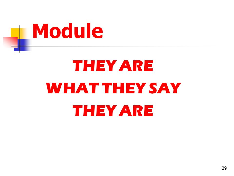 Module THEY ARE WHAT THEY SAY