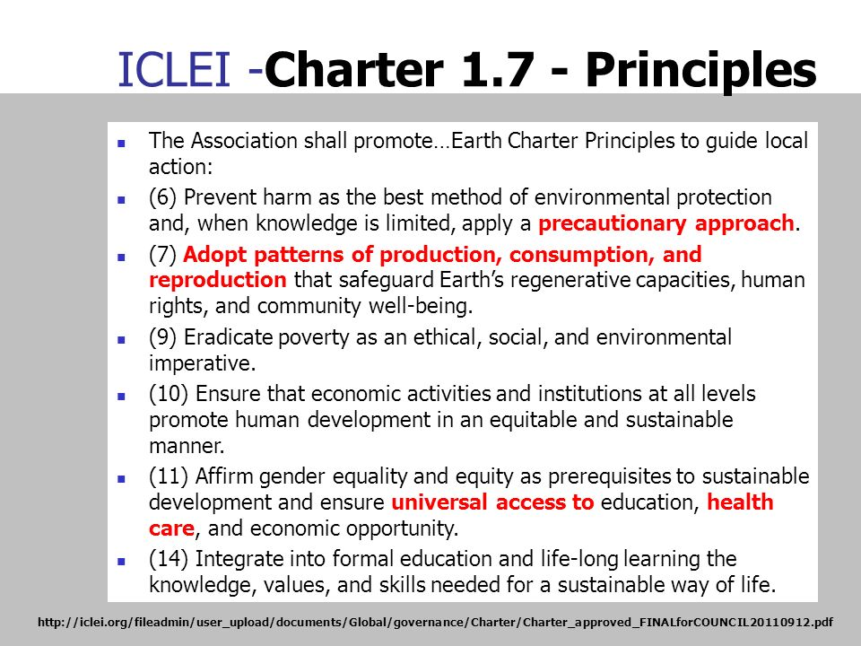 ICLEI -Charter 1.7 - Principles