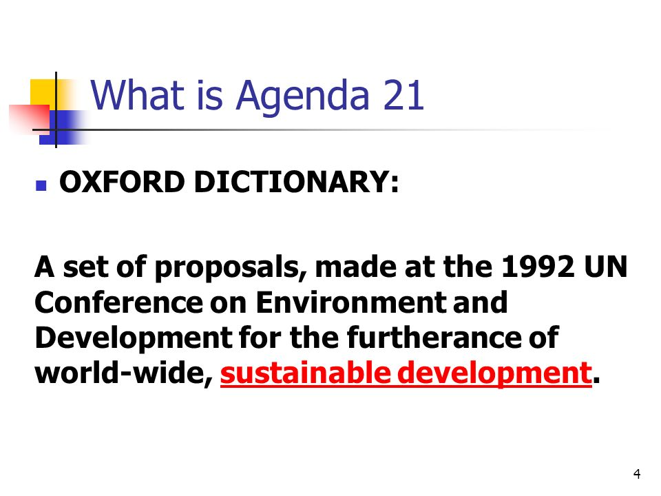 What is Agenda 21 OXFORD DICTIONARY: