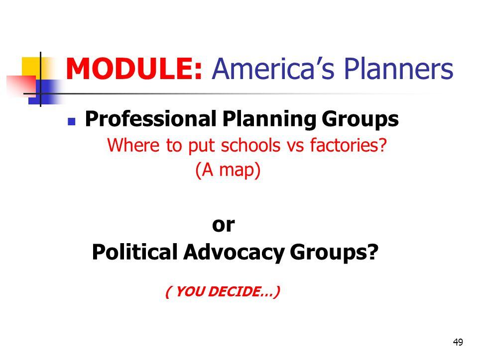 MODULE: America's Planners