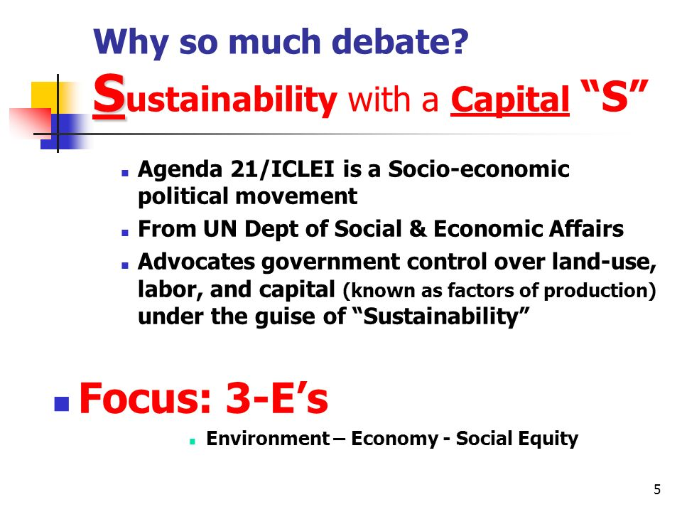 Why so much debate Sustainability with a Capital S
