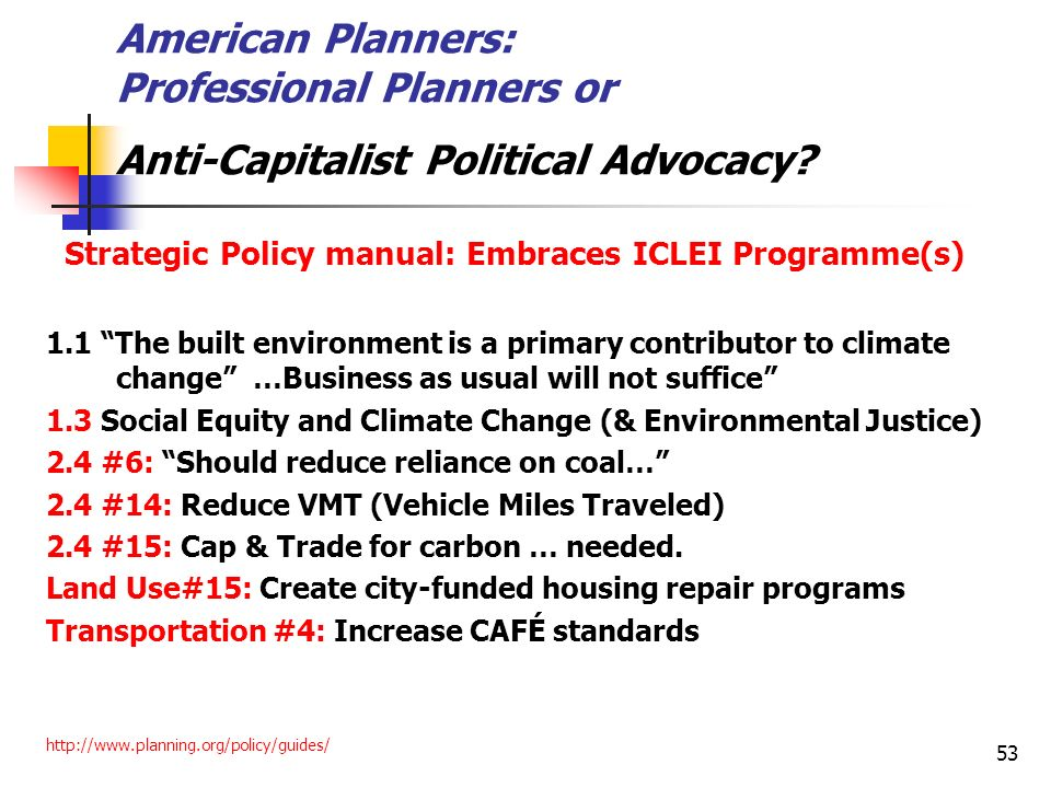 American Planners: Professional Planners or Anti-Capitalist Political Advocacy