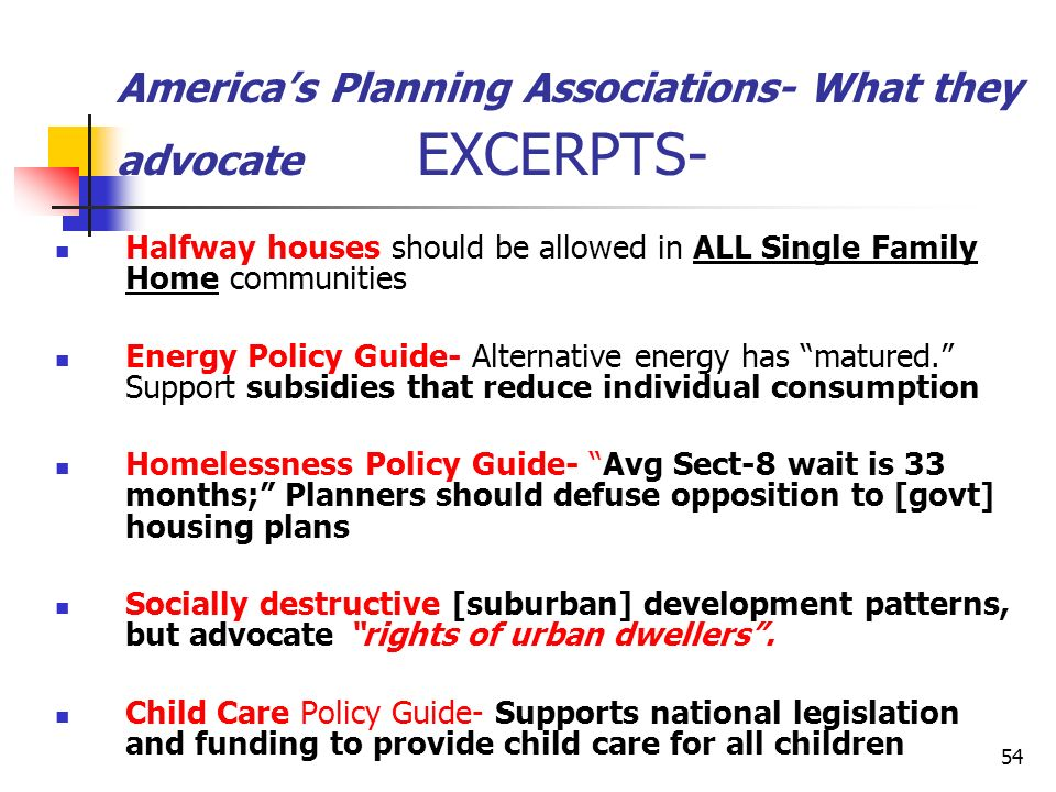 America's Planning Associations- What they advocate EXCERPTS-