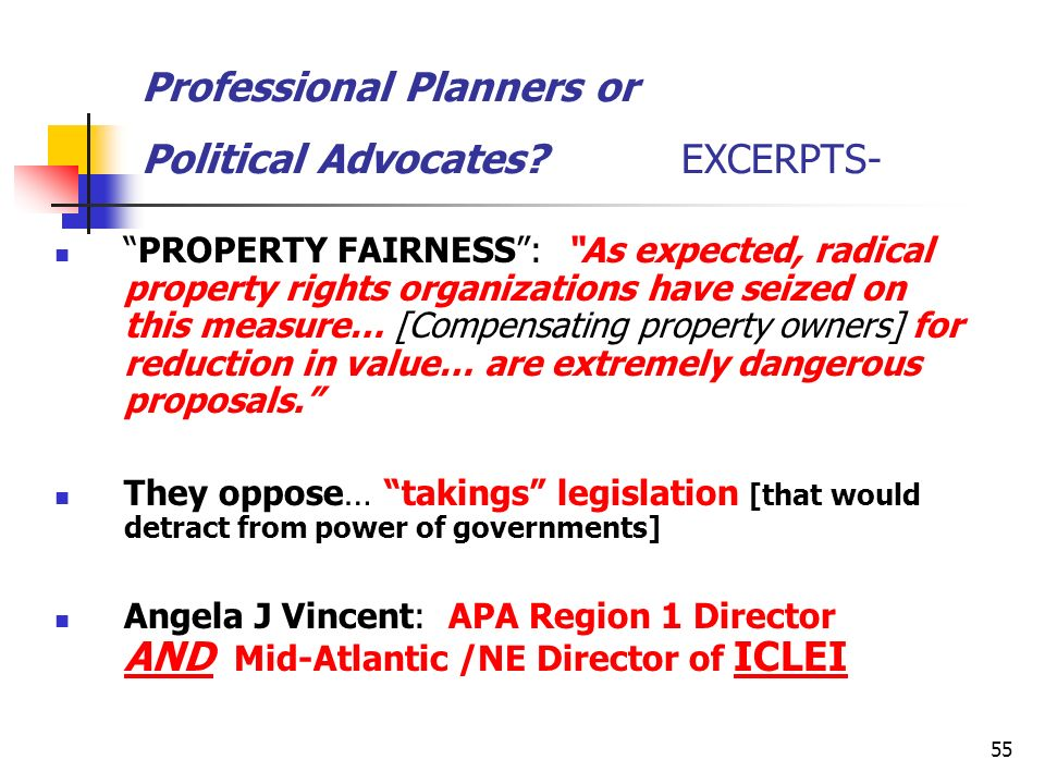 Professional Planners or Political Advocates EXCERPTS-