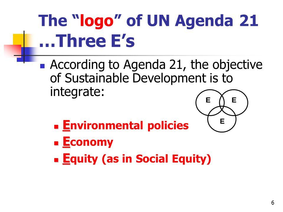 The logo of UN Agenda 21 …Three E's