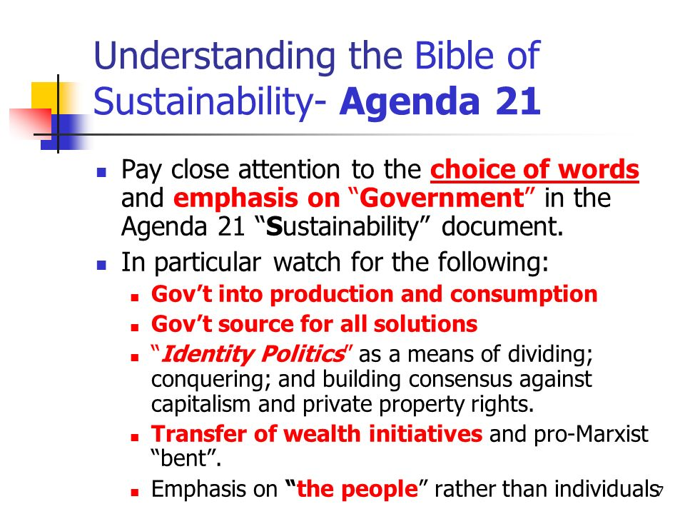 Understanding the Bible of Sustainability- Agenda 21