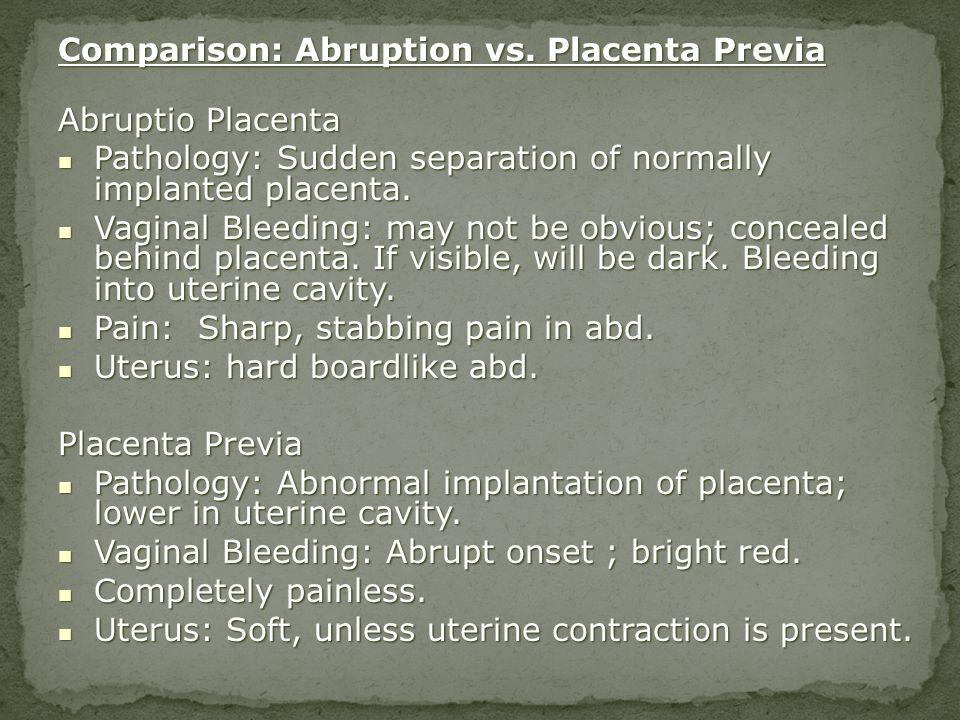 Comparison: Abruption vs. Placenta Previa Abruptio Placenta