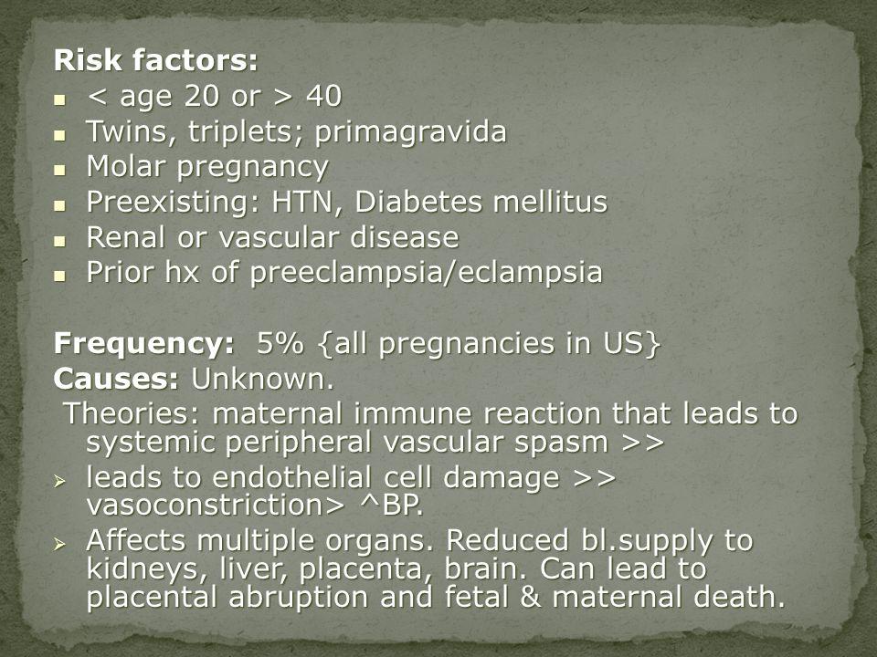 Twins, triplets; primagravida Molar pregnancy
