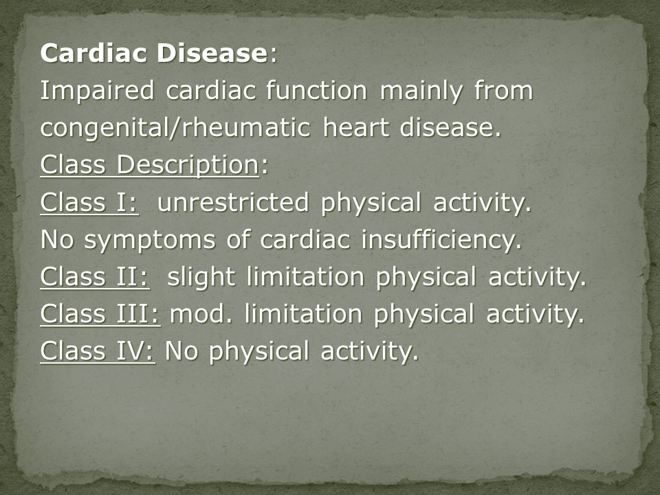 Impaired cardiac function mainly from