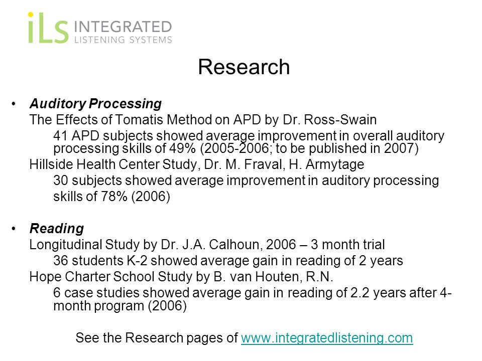 See the Research pages of www.integratedlistening.com