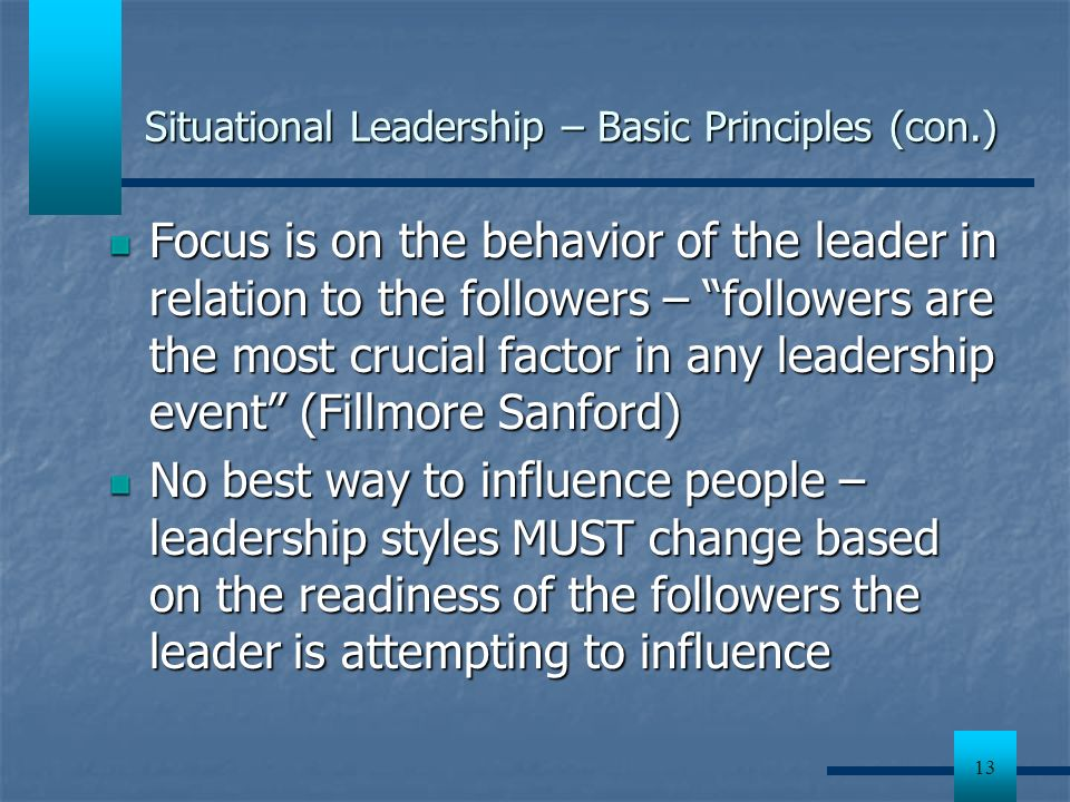 Situational Leadership – Basic Principles (con.)